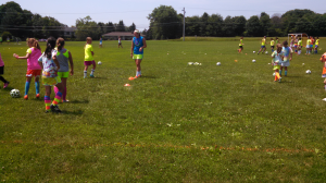 On the pitch ... Circuit training - working on becoming complete players.